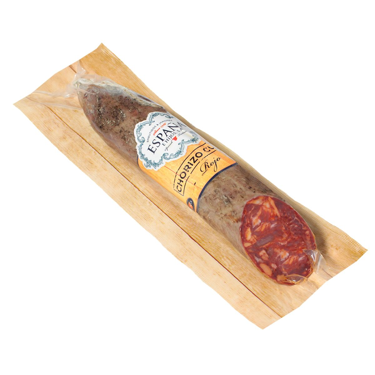 Red chorizo with natural casing